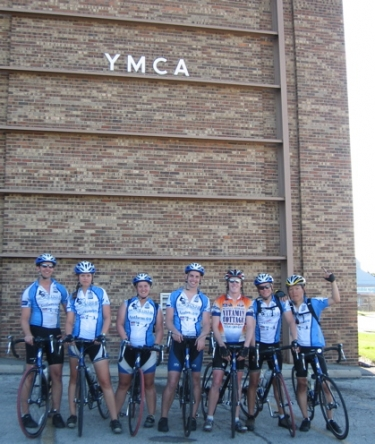 Ian, Allie, Becca, Logan, Drew, Eric and Min Ku arrive at the  YMCA in Bloomington, IL.